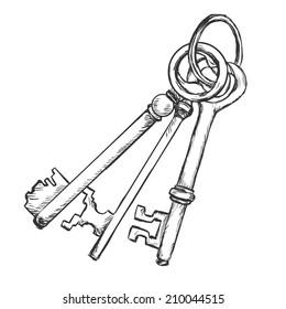 Vector Sketch Bunch of Three Antique Keys