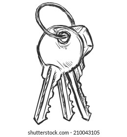 Vector Sketch Bunch of Three Modern Keys