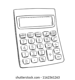 Vector sketch of calculator. Hand draw illustration isolated on white background.