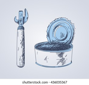 Vector sketch of can-opener and tin