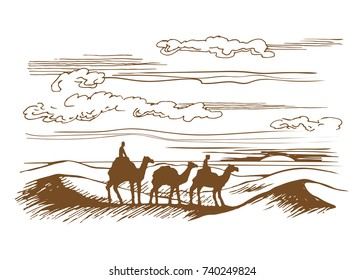 Vector sketch of the caravan. Camels are on the desert among the dunes. Silhouettes of animals on the horizon.