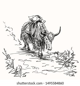 Vector sketch of cargo yak in Himalaya mountains, Hand drawn illustration