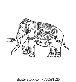 vector sketch cartoon indian decorated oriental elephant. Isolated illustration on a white background. Traditional eastern festive animal with big tusks. Hand drawn sri-lanka , india symbols