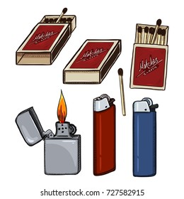 Vector Sketch Cartoon of Matches, Matchboxes and Lighters. Smoking accesories.