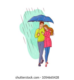 Vector sketch cartoon young couple woman, cute girl in coat man walking holding umbrella under rain smiling hugging. Female character at rainy autumn weather Isolated illustration white background