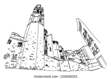 Vector sketch of Catedral de Gerona. Spain.