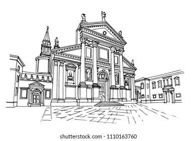 vector sketch of the Cathedral of San Giorgio Maggiore, Venice, Italy.