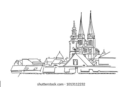Vector sketch of Cathedral in Zagreb, Croatia