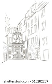 vector sketch of Chiesa di Santa Barbara dei Librai church in Rome. Italy.