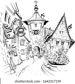 Vector sketch of Christmas medieval old town of Rothenburg ob der Tauber, Bavaria, part of Romantic Road through southern Germany