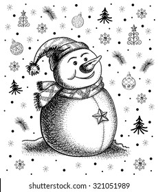 Vector sketch of christmas snowman. Set of small New Year's drawings.