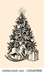 Vector Sketch Christmas Tree with Decoration and Gifts. Vector