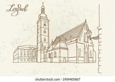 Vector sketch of Church of St.Mark in St.Mark's square in upper town in Zagreb, Croatia