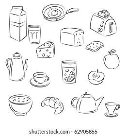 """Vector Sketch Clipart Set """"Breakfast food"""""""