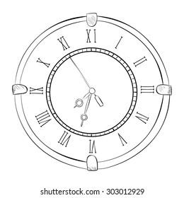 Vector sketch of clock. Hand draw illustration.