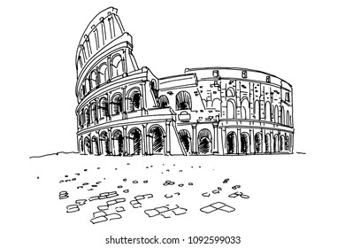 Vector sketch of The Coliseum or Flavian Amphitheatre, Rome, Italy.