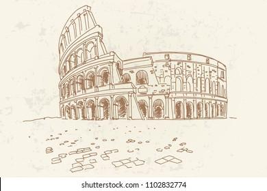 Vector sketch of The Coliseum or Flavian Amphitheatre, Rome, Italy. Retro style.