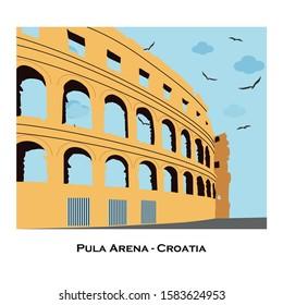 Vector sketch of Coliseum in Pula, Croatia.