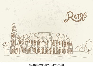 vector sketch of Coliseum. Rome. Italy.