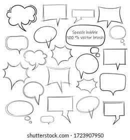 Vector  sketch collection of hand drawn doodle style speech bubbles