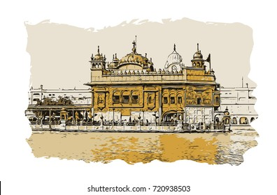 Vector sketch with color of Golden Temple Amritsar Punjab, India.