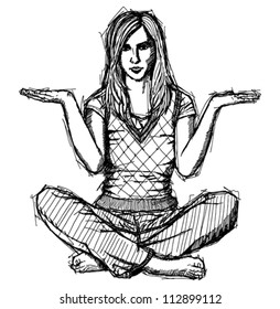 Vector Sketch, comics style woman in lotus pose with open hands