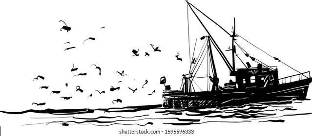 The vector sketch of the commercial fishing boat on the wave in the ocean