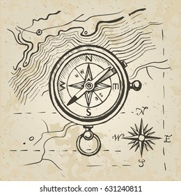 Vector sketch of the compass on the background of a map. Sign of the wind rose. Vintage retro paper.