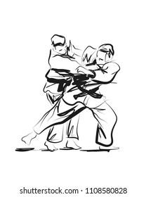Vector sketch competing judo
