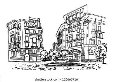 vector sketch of Coppede Quarter, Rome, Italy
