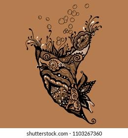Vector sketch of cornucopia horn of plenty on background. Hand drawn black white decorative design illustration. Sketch tattoo