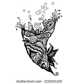 Vector sketch of cornucopia horn of plenty. Hand drawn black white decorative design illustration. Sketch tattoo