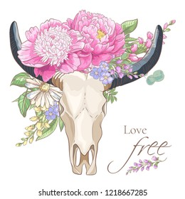 Vector sketch cow skull and tropic flowera with feathers. Boho composition with peony, chamomile, wild flowers, leaves