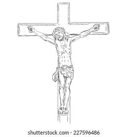 Vector  Sketch Crucifix. Jesus on the Cross.