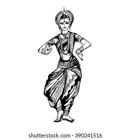 vector sketch of dancing girl in an Indian costume, dancer Indian dance