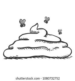 Vector Sketch Doodle Poop with Flies. Hand Drawn Piece of Shit.