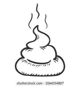 Vector Sketch Doodle Poop. Hand Drawn Piece of Shit.
