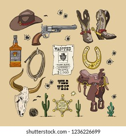 Vector sketch drawing color illustration of wild West cowboys symbols: revolver, hat, boots with spurs, horseshoe, whiskey, lasso, saddle, hunt for wanted, buffalo skull, sheriff star and tumbleweed.