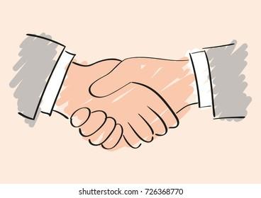 Vector sketch drawing of handshake. Symbol of friendship partnership and cooperation. Sketch handshake.