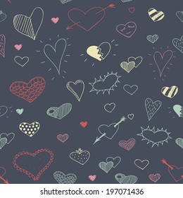 vector sketch drawing heart seamless pattern