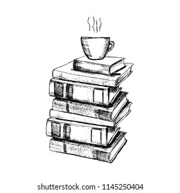 Vector sketch drawing illustration with books and cup of coffee