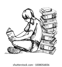 Vector sketch drawing illustration of reading girl with books