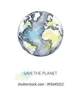 Vector sketch of earth planet in black isolated on white background with pastel blots. Hatching design element. Poster for Earth Day in April 22.