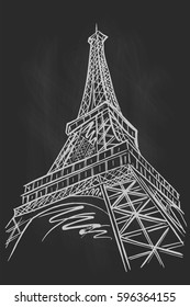 vector sketch of Eiffel tower on chalkboard background, Paris, France.