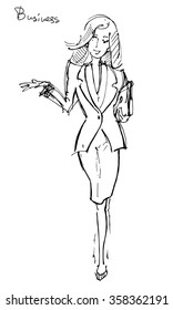 Vector sketch of the elegance business woman with laptop in her hand.