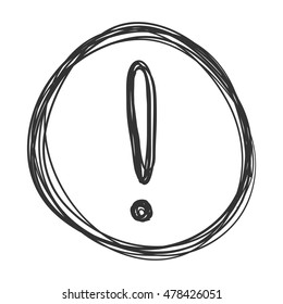Vector Sketch Exclamation Mark in the Circle