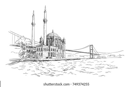 Vector sketch of famous turkish landmark Ortakoy Mosque in Istanbul and Bosphorus bridge, Hand drawn illustration with hatched shades. November 06, 2017
