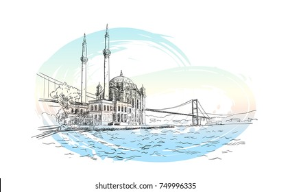 Vector sketch of famous turkish landmark Ortakoy Mosque in Istanbul and Bosphorus bridge on background of pastel color watercolor brush stroke, Hand drawn illustration. November 07, 2017