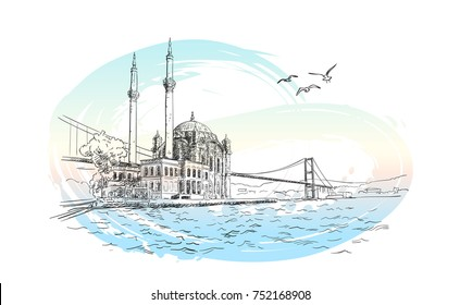 Vector sketch of famous turkish landmark Ortakoy Mosque in Istanbul, Bosphorus bridge and seagulls on background of pastel color watercolor brush stroke, Hand drawn illustration. November 10, 2017