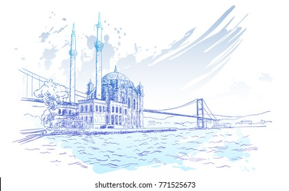 Vector sketch of famous turkish landmark Ortakoy Mosque in Istanbul and Bosphorus bridge on background of blue color watercolor brush stroke, Hand drawn illustration. December 09, 2017
